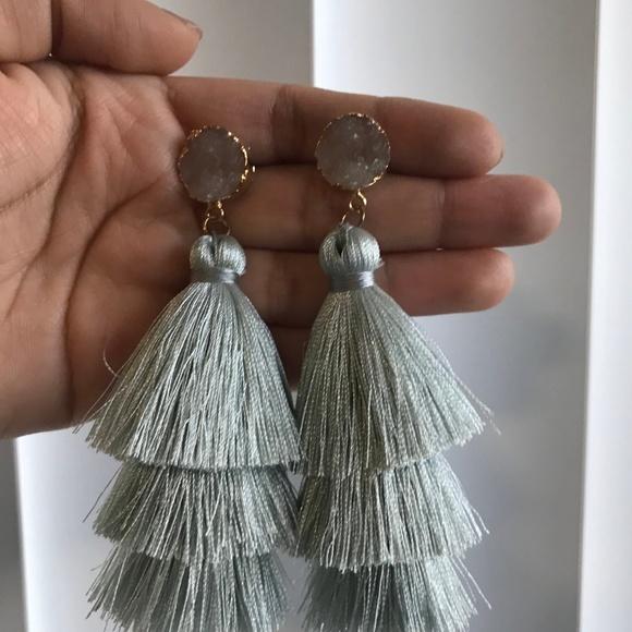 unknown Jewelry - Gray Druzy Stud Tassel Tiered Earrings NEW